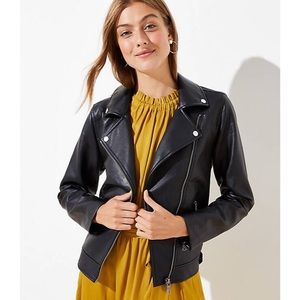 LOFT Jackets & Coats - Classic Black Faux Leather Moto Jacket